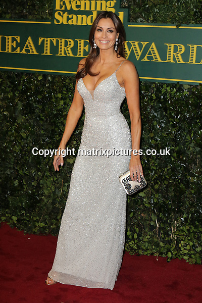 NON EXCLUSIVE PICTURE: MATRIXPICTURES.CO.UK<br /> PLEASE CREDIT ALL USES<br /> <br /> WORLD RIGHTS<br /> <br /> Melanie Sykes attends the Evening Standard Theatre Awards 2017 at Theatre Royal, Drury Lane in London. <br /> <br /> DECEMBER 3rd 2017<br /> <br /> REF: MES 172784