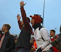 Arkansas Democrat-Gazette/THOMAS METTHE -- 11/29/2019 --<br /> Arkansas fans Daniel Clayton (left) of El Dorado and Tyler Feemster (right) of Camden cheer on the Hogs Arkansas fans cheer on the Hogs during the fourth quarter of the Razorbacks' 24-14 loss to Missouri on Friday, Nov. 29, 2019, at War Memorial Stadium in Little Rock.
