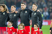 Wales captain Chris Gunter (far right) sings the national anthem ahead of the International Friendly match between Wales and Panama at the Cardiff City Stadium, Cardiff, Wales on 14 November 2017. Photo by Mark Hawkins.