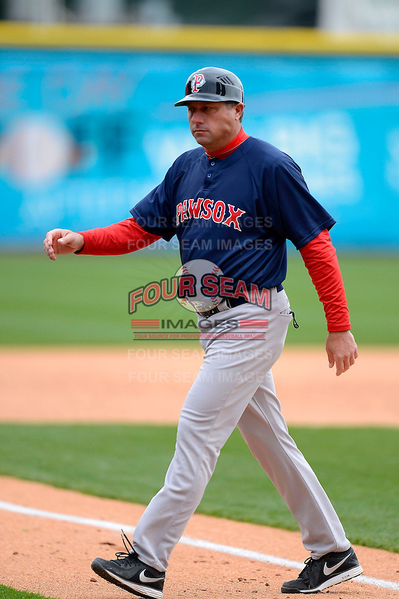 Pawtucket Red Sox manager Gary DiSarcina #16 during the second game of a doubleheader against the Buffalo Bisons on April 25, 2013 at Coca-Cola Field in Buffalo, New York.  Buffalo defeated Pawtucket 4-0.  (Mike Janes/Four Seam Images)
