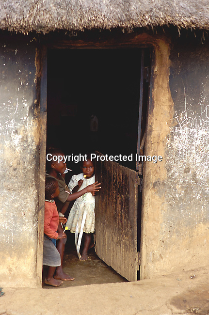 SIAIDSG20107.People Rural. Kwa Zulu Natal. Children of parents who have AIDS standing in the doorway of there thatch roofed hut enjoying lollipops. Oblivious to there situation. .©Per-Anders Pettersson/iAfrika Photos