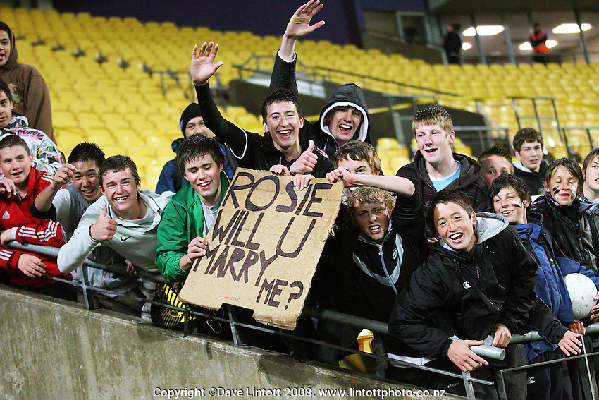 Rosie White fans during the FIFA Women's Under-17 World Cup pool match between New Zealand and Columbia at Westpac Stadium, Wellington, New Zealand on Tuesday, 4 November 2008. Photo: Dave Lintott / lintottphoto.co.nz