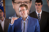 PQ candidate for the riding of Jean-Talon Clement Laberge talk to the press during the presentation of parti Quebecois candidates for the upcoming byelection Tuesday May 5, 2015.