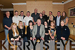 70th Birthday: Michael Fitzgerald, Moyvane, (centre front) celebrating his 70th birthday with family and friends at Kirby's Lanterns Hotel on Friday night last. Front: Carly Barber, Kathleen Barber, Margaret O'Mahony,Michael Fitzgerald, Kayleigh Fitzgerald, Anna O'Leary and Carmel Fitzgerald. Back:Michael O'Leary, Michael O'Mahony, Sean O'Mahony, Mlichael Fitzgerald, Paul Barber, Ml. Fitzgerald, James Thompson, Gillian Fitzgerald, Tom Fitzgerald and Emear Kenny. At the back is John Fitzgerald.