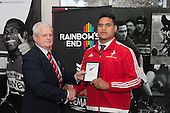 CMRFU President Richard Hull presents Suetena Asomua with a plaque to commemorate his selection for the NZ Barbarians Secondary Schools team. Counties Manukau Rugby Unions Junior Prize giving held at ECOLight Stadium Pukekohe on Wednesday October12th, 2016.<br /> Photo by Richard Spranger.
