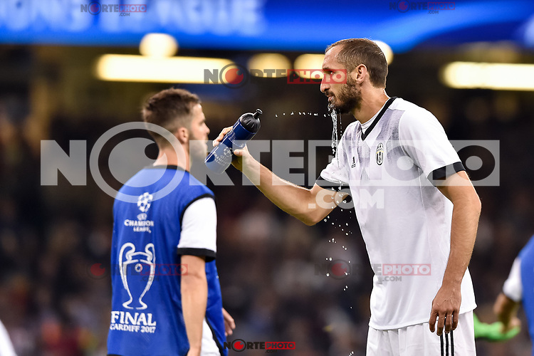 Giorgio Chiellini of Juventus warms up during the UEFA Champions League Final match between Real Madrid and Juventus at the National Stadium of Wales, Cardiff, Wales on 3 June 2017. Photo by Giuseppe Maffia.<br /> <br /> Giuseppe Maffia/UK Sports Pics Ltd/Alterphotos /NortePhoto.com * /nortephoto.com