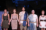 "Curtain Call - Colleen Zenk ""Anticleia"", Janine DiVita ""Penelope"", Josh A. Davis ""Odysseus"", Eddie Korbich ""Poseidon"", Emma Zaks ""Athena"" - Opening Night of Odyssey - The Epic Musical starring Colleen Zenk, Edddie Korbich, Josh A. Davis, Emma Zaks and Janine DiVita and cast on October 23, 2011 at the American Theatre of Actors, New York City, New York. (Photo by Sue Coflin/Max Photos)"