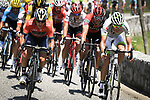 The breakaway group led by Domenico Pozzovivo (ITA) Bahrain-Merida in action during Stage 16 of the 2018 Tour de France running 218km from Carcassonne to Bagneres-de-Luchon, France. 24th July 2018. <br /> Picture: ASO/Pauline Ballet | Cyclefile<br /> All photos usage must carry mandatory copyright credit (© Cyclefile | ASO/Pauline Ballet)