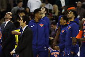 17th January 2019, The O2 Arena, London, England; NBA London Game, Washington Wizards versus New York Knicks; A dejected New York Knicks team as they watch the referee review the goaltending incident