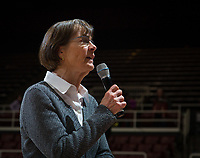 Stanford, CA - February 9, 2020: Tara VanDerveer at Maples Pavilion. Stanford Women's Basketball defeated the USC Trojans 79-59 on their Senior Night and celebration of National Girls and Women in Sports Day.