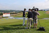 Ross Fisher (ENG) talks with Sky Sports in front of the 18th green about his experience of the 2010 course at the 2013 ISPS Handa Wales Open from the Celtic Manor Resort, Newport, Wales. Picture:  David Lloyd / www.golffile.ie