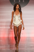 Model walks runway in an outfit by Mylissa Shely, during the Future of Fashion 2017 runway show at the Fashion Institute of Technology on May 8, 2017.