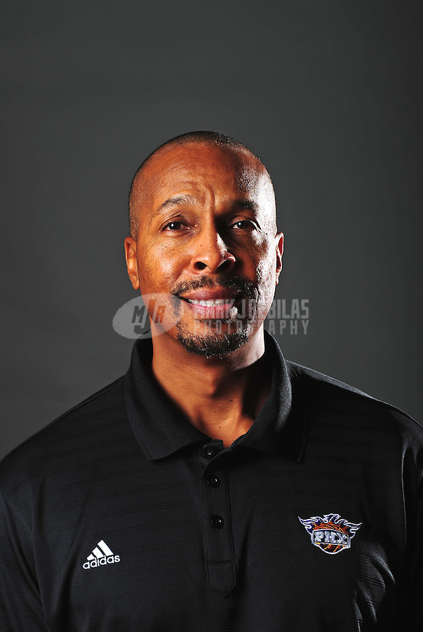 Dec. 16, 2011; Phoenix, AZ, USA; Phoenix Suns coach Elston Turner poses for a portrait during media day at the US Airways Center. Mandatory Credit: Mark J. Rebilas-