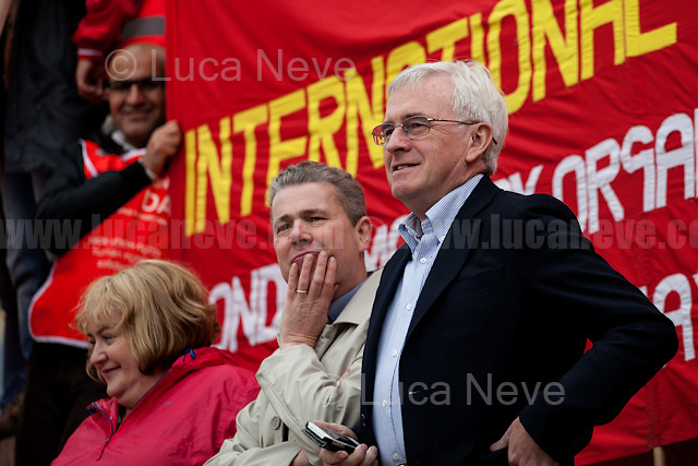 (From R to L) John McDonnell MP (Labour Member of Parliament for Hayes and Harlington and Shadow Chancellor) &amp; Mark Serwotka (General Secretary of the Public and Commercial Services Union, PCS).<br /> <br /> London, 01/05/2017. Thousands of people marched in central London to celebrate the International Workers' Day. The rally started in Clerkenwell Green and ended in Trafalgar Square where numerous speakers gave speeches in defence of worker's rights, in protest against Theresa May Conservative Government spending cuts and policies, and in support and solidarity with the other demonstrations across the globe. Main speaker of the event was John McDonnell MP, Labour Member of Parliament for Hayes and Harlington and Shadow Chancellor.