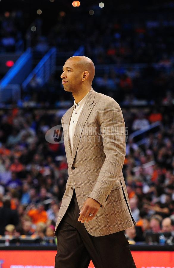 Mar. 25, 2011; Phoenix, AZ, USA; New Orleans Hornets head coach Monty Williams against the Phoenix Suns at the US Airways Center. Mandatory Credit: Mark J. Rebilas-