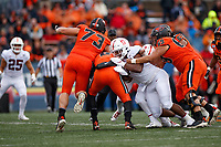 CORVALLIS, OR - SEPTEMBER 28: Thomas Booker #34 of the Stanford Cardinal sacks John McCartan #6 of the Oregon State Beavers during a game between Oregon State University and Stanford Football at Reser Stadium on September 28, 2019 in Corvallis, Oregon.