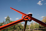 Minnesota, Twin Cities, Minneapolis-Saint Paul: Sculpture titled Molecule by Mark di Suvero at Minnesota Sculpture Garden, Minneapolis..Photo mnqual226-75232..Photo copyright Lee Foster, www.fostertravel.com, 510-549-2202, lee@fostertravel.com.