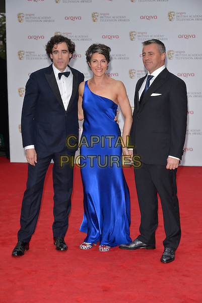 Stephen Mangan, Tamsin Greig and Matt Leblanc.Arqiva British Academy Television Awards in 2013 at the Royal Festival Hall, London, England..12th May 2013.BAFTA BAFTAS full length black suit tuxedo blue silk satin dress one shoulder union jack shoes.CAP/PL.©Phil Loftus/Capital Pictures