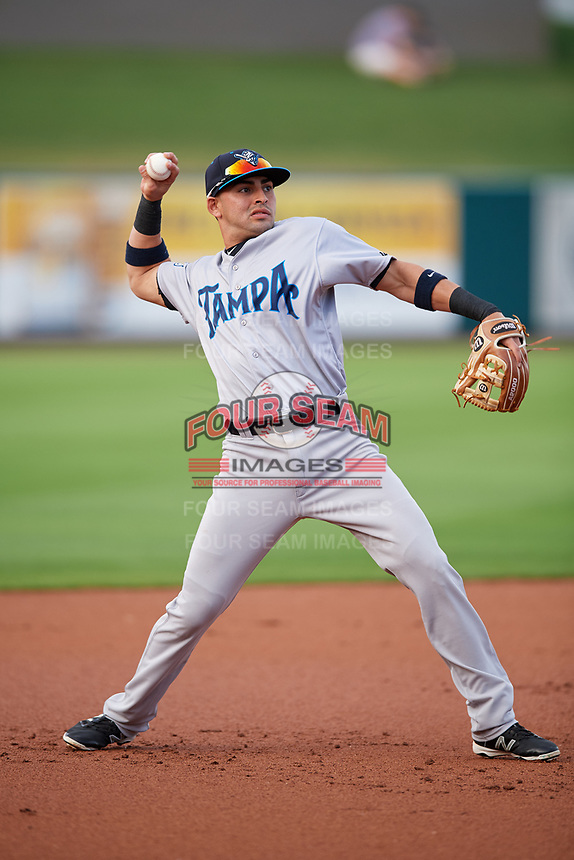 Tampa Tarpons third baseman Angel Aguilar (7) throws to first base during a game against the Lakeland Flying Tigers on April 5, 2018 at Publix Field at Joker Marchant Stadium in Lakeland, Florida.  Tampa defeated Lakeland 4-2.  (Mike Janes/Four Seam Images)