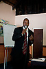 Zimbabwean human rights lawyer Alec Muchadehama gives a presentation on human rights law and cases on May 16.