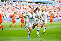 Celebration Megan Rapinoe (USA) et Alex Morgan (USA) apres penalty<br /> Lyon 07/07/2019<br /> Football Womens World Cup Final <br /> United States - Netherlands <br /> Photo  Gwendoline LeGoff / Panoramic/Insidefoto <br /> ITALY ONLY