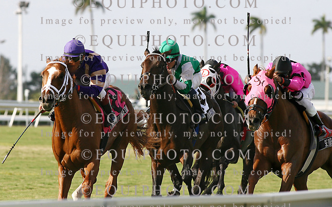 Twilight Meteor #8 (L) with Edgar Prado riding won the $100,000 Hallandale Beach Stakes at Gulfstream Park over 2nd place finisher #11 Sedgefield (C) with Rafael Bejarano and third place finisher Le Dauphin #13 (R) with Fernando Jara. Photo By Bill Denver/EQUI-PHOTO.