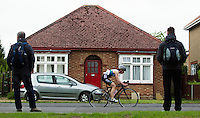 10 MAY 2015 - ST. NEOTS, GBR - Lucy Till, racing in the women's 40-44 category, starts her bike leg of the 2015 British Sprint Triathlon Championships at St. Neots, Great Britain (PHOTO COPYRIGHT © 2015 NIGEL FARROW, ALL RIGHTS RESERVED)