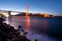 A twilight view of the beautiful Golden Gate Bridge from the Chrissy Field viewpoint