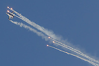 International Air Show at the Hungarian Air Force base in Kecskemet (about 87 km South-East of the capital city Budapest), Hungary on August 03, 2013. ATTILA VOLGYIF-16 aircraft of the Belgian Airforce performs during the