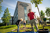 David Drake helps prapare trees for planting in front of the ConocoPhillips Integrated Science Building during a belated Arbor Day volunteer tree-planting event to honor UAA's 10 years as a certified Arbor Day Foundation Tree Campus.