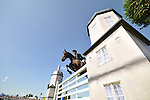 06/09/2015.  Stamford ,  England.  The Land Rover Burghley Horse Trials. \ in action during the Show Jumping Phase on Day 4 of the 2015 Land Rover Burghley Horse Trials.  The Land Rover Burghley Horse Trials take place 3rd - 6th September.   Jonathan Clarke/JPC Images
