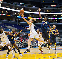 LOS ANGELES, CA - March 10, 2012: Guard Toni Kokenis (31) of the Stanford University woman's basketball team competes against Cal during the PAC 12 Woman's Basketball Championship Game at the Staples Center in Los Angeles California. Final score Stanford won 77-62.