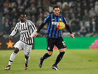 Calcio, semifinali di andata di Coppa Italia: Juventus vs Inter. Torino, Juventus Stadium, 27 gennaio 2016.<br /> FC Inter&rsquo;s Danilo D'Ambrosio, right, is challenged by Juventus&rsquo; Kwadwo Asamoah during the Italian Cup semifinal first leg football match between Juventus and FC Inter at Juventus stadium, 27 January 2016.<br /> UPDATE IMAGES PRESS/Isabella Bonotto