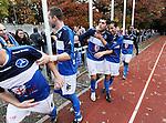 2015-10-25 / Voetbal / Seizoen 2015-2016 / FC Turnhout - KV Vosselaar / Alan Ven legde met de 3-1 de eindstand vast en vierde dit met de supporters. Hier wordt hij omhelsd door Nurullah Kocak die eerder ook aan doelpunt scoorde.<br /><br />Foto: Mpics.be