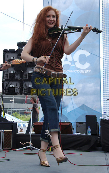 MEGAN MULLINS.2007 CMA Music Festival held at Greased Lightning Daytime Stage at Riverfront Park, Nashville, Tennessee, USA..June 8th, 2007.full length stage concert live gig performance music  violin jeans denim microphone brown top .CAP/ADM/LF.©Laura Farr/AdMedia/Capital Pictures