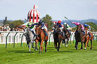 Winner of The First Carlton Fillies' Handicap, Raincall ridden by Harry Bentley and trained by Henry Candy  during Horse Racing at Salisbury Racecourse on 15th August 2019