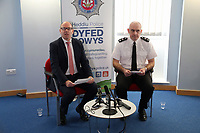 Pictured L-R: Chief Inspector Martin Slevin and Chief Superintendent Tony Brown. Friday 08 December 2017<br /> Re: Dyfed Powys Police press conference at Cardiff Bay Police Station over a house fire that killed a father and his children in Llangammarch Wells, mid Wales, UK. <br /> David Cuthbertson, 68, and the children aged between four and 11 are missing, presumed dead, following the blaze.<br /> Three other children aged 10, 12 and 13 escaped and were taken to hospital.<br /> Dyfed-Powys Police said they have been released and are being cared for by family.
