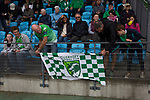 Guernsey 0 Corinthian-Casuals 1, 10/09/2017. Footes Lane, Isthmian League Division One. Home fans tying a banner to the front of the stand before kick-off as Guernsey take on Corinthian-Casuals in a Isthmian League Division One South match at Footes Lane. Formed in 2011, Guernsey FC are a community club located in St. Peter Port on the island of Guernsey and were promoted to the Isthmian League Division One South in 2013. The visitors from Kingston upon Thames won the fixture by 1-0, watched by a crowd of 614 spectators. Photo by Colin McPherson.