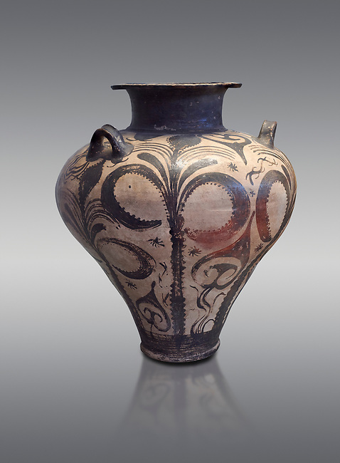 Three handled Palace Style Mycenaean amphora with palm tree floral motifs, Mycenaean cemetery, Argive Deiras, 15 cnt BC, National Archaeological Museum Athens. Cat no 7107.  Grey Background<br /> <br /> This Mycenaean vase is distinguished by the high quality of clay and paint as well as the naturalistic rendition of the palm tree decorations