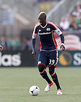 New England Revolution midfielder Saer Sene (39) looks to pass. In a Major League Soccer (MLS) match, New England Revolution defeated New York Red Bulls, 2-0, at Gillette Stadium on July 8, 2012.