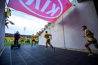 The Hurricanes run out for the Super Rugby match between the Hurricanes and Sharks at Sky Stadium in Wellington, New Zealand on Saturday, 15 February 2020. Photo: Dave Lintott / lintottphoto.co.nz