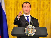 President Dmitry Medvedev of the Russian Federation conducts a joint press conference with United States President Barack Obama (not pictured) in the East Room of the White House in Washington, D.C. on Thursday, June 24, 2010..Credit: Ron Sachs / CNP