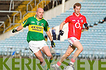 Michael Murphy of Kerry races against Cork's Richard O'Sullivan last Wednesday night in Pairc Ui Chaoimh, Cork in the Munster GAA Junior Football Championship.
