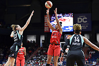 Washington, DC - August 25, 2019: Washington Mystics guard Natasha Cloud (9) shoots a fade away jump shot over New York Liberty guard Marine Johannes (23) during second half action of game between the New York Liberty and the Washington Mystics at the Entertainment and Sports Arena in Washington, DC. The Mystics defeated New York 101-72. (Photo by Phil Peters/Media Images International)