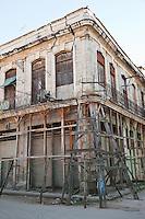 Cuba, Havana.  Shoring up Old Building, Old Havana.