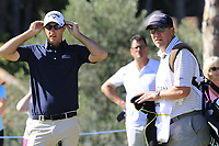Nicolas Colsaerts (BEL) and caddy Brian at the 10th green during Thursday's Round 1 of the 2018 Turkish Airlines Open hosted by Regnum Carya Golf &amp; Spa Resort, Antalya, Turkey. 1st November 2018.<br /> Picture: Eoin Clarke | Golffile<br /> <br /> <br /> All photos usage must carry mandatory copyright credit (&copy; Golffile | Eoin Clarke)