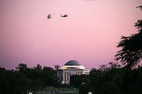 Marine One, left, with United States President Barack Obama aboard, flies near the Washington Monument on approach to the South Lawn of the White House in Washington, DC, USA, 09 October 2016. President Obama is returning from a weekend in Chicago.<br /> Credit: Shawn Thew / Pool via CNP /MediaPunch