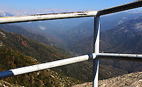 Stock photo: Sierra Nevada mountain peaks seen from an iron railing on the Moro rock of the Sequoia national park , California USA.