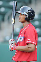 Outfielder Domingo Santana (24) of the Lakewood BlueClaws, Class A affiliate of the Philadelphia Phillies, in a game against the Greenville Drive on May 13, 2010, at Fluor Field at the West End in Greenville, S.C. Photo by: Tom Priddy/Four Seam Images