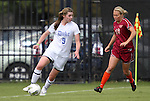 02 October 2011: Duke's Kelly Cobb (9) and Virginia Tech's Anne Lumpkin (16). The Duke University Blue Devils defeated the Virginia Tech Hokies 1-0 at Koskinen Stadium in Durham, North Carolina in an NCAA Division I Women's Soccer game.
